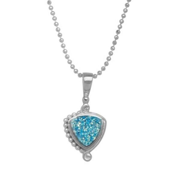 🆕Sajen Silver Paraiba Druzy Crystal Stone Necklac